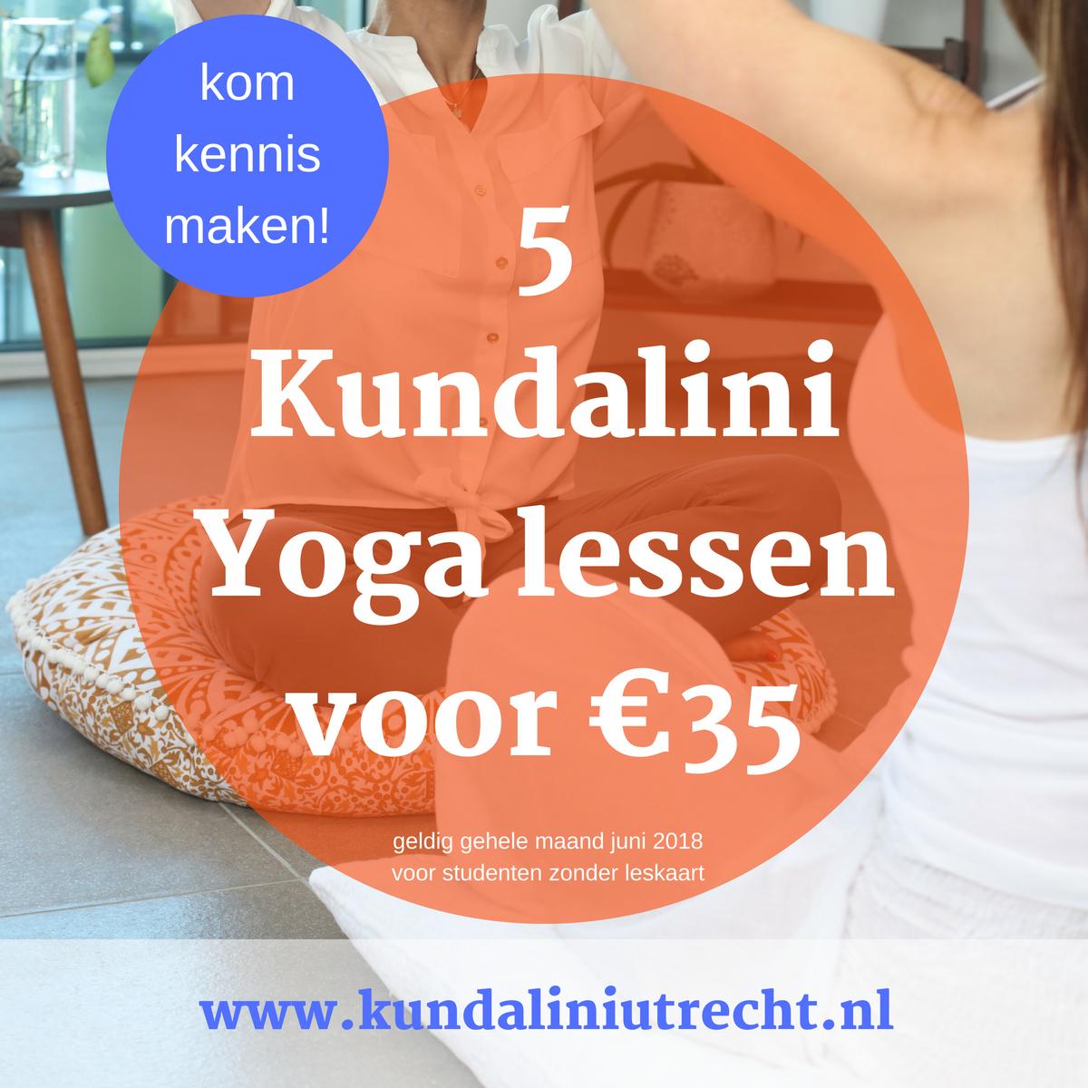 5 kundalini yoga lessen voor 35 euro in Juni
